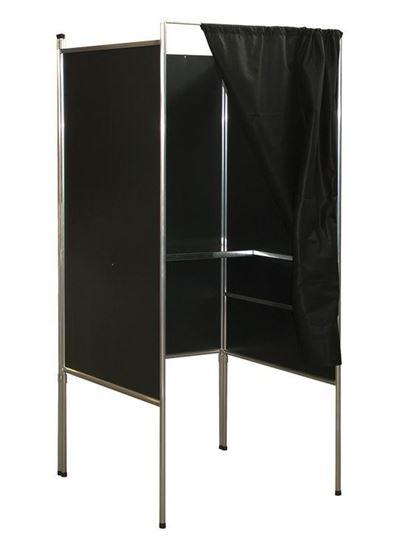 Cabina Elettorale in alluminio con n.1 ripiano scrittoio e tendina frontale