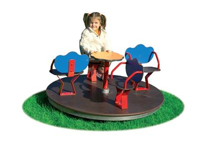 GIOSTRA ARIANNA girevole con sedili a 4 posti e pianale in legno