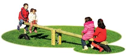 BILICO oscillante a 4 posti con trave in legno
