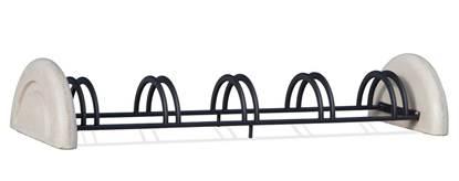 PORTABICI GIUSY in tubolare di acciaio zincato a 5 posti con supporti in calcestruzzo
