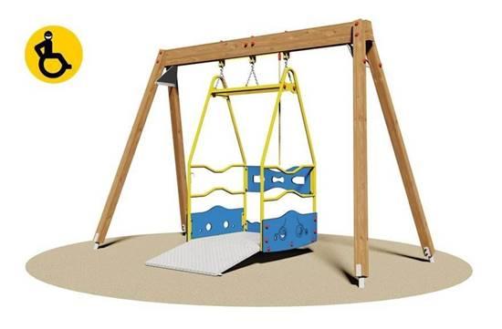 ALTALENA in legno completa di piattaforma per disabili su carrozzina