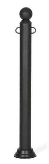 DISSUASORE COMO in tubo di acciaio con sfera superiore, completo di anelli fermacatena