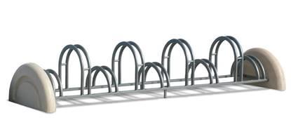 PORTABICI GIUSY in tubolare di acciaio zincato a 9 posti con supporti in calcestruzzo