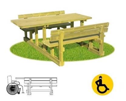 TAVOLO PIC-NIC con prolunga per disabili su carrozzina e n.02 sedute con spalliera