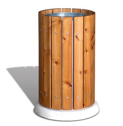 CESTONE GIRAFFA con doghe in legno e base in calcestruzzo