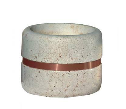 FIORIERA GIOVE diametro cm. 90 in calcestruzzo con fascia decorativa in alluminio color rame