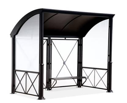 PENSILINA BOLOGNA per attesa autobus con struttura in acciaio e tamponamenti in policarbonato, completa di panca interna