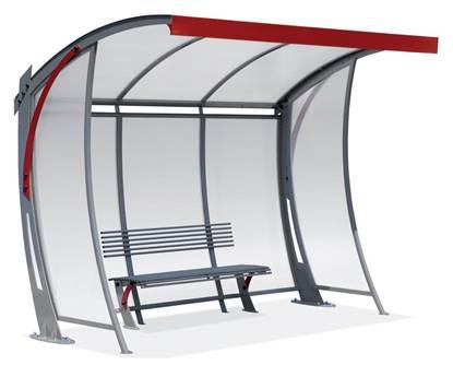 PENSILINA METROBUS di forma semi-curva per attesa autobus completa di panchina interna