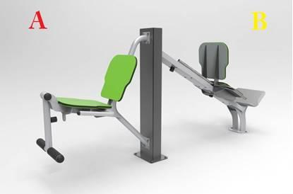 Macchina Doppia per Muscoli Gambe per esterno per esercizio muscoli quadricipiti
