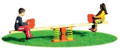 BILICO NEMO oscillante a 2 posti con trave in legno e n.2 molle