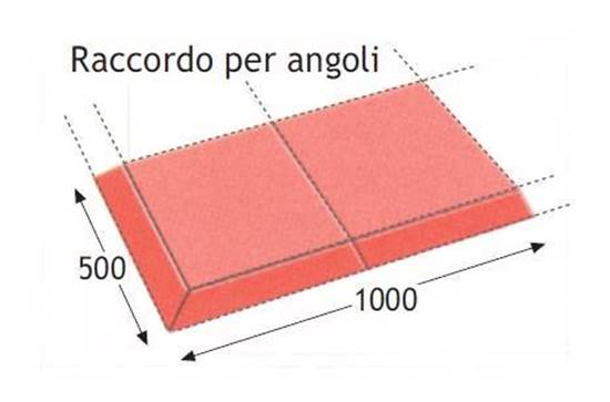 Raccordo angolare in gomma con doppio scivolo per pavimento antitrauma