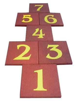 GIOCO DELLA CAMPANA composto da n.7 mattonelle in gomma numerate cm. 50x50