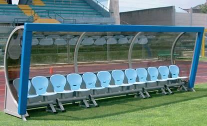 Panchina allenatori e riserve mod. San Paolo con struttura in acciaio con protezione antinfortunistica e scocche in polipropilene ignifugo