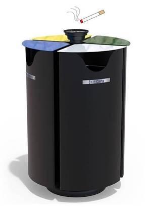CESTONE POKER per 4 tipologie di rifiuti con coperchi ribaltabili, anelli fermasacco e posacenere