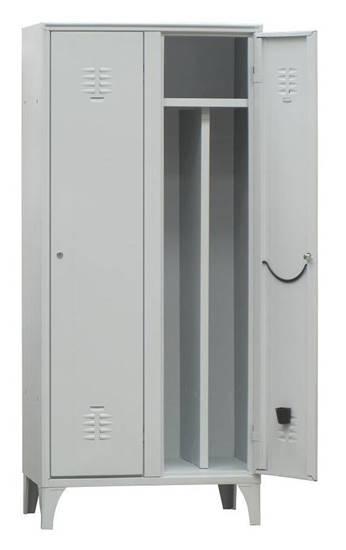 Armadio spogliatoio metallico a 2 ante con serratura completo di divisorio interno sporco/pulito