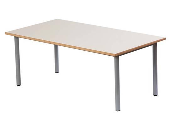 Tavolo rettangolare per scuola materna con struttura in acciaio e piano in legno