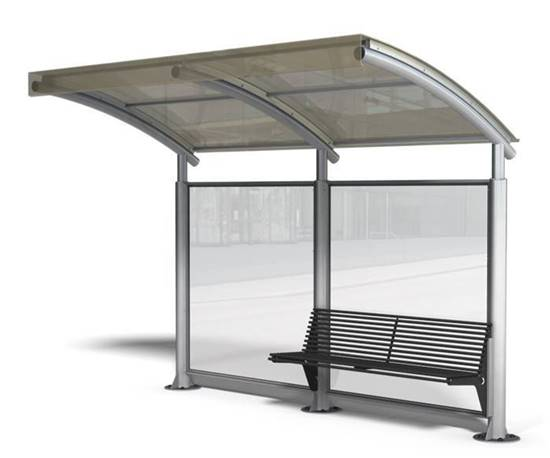 PENSILINA VIETRI a sbalzo per attesa autobus completa di panchina interna