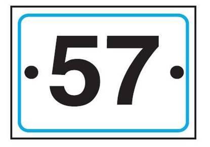 Numero civico realizzato su supporto in alluminio piano 25/10 dimensioni cm. 10x15 completo di pellicola rifrangente classe 1