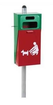 CESTINO BOLT in acciaio per raccolta deiezioni canine con porta sacchetti superiore