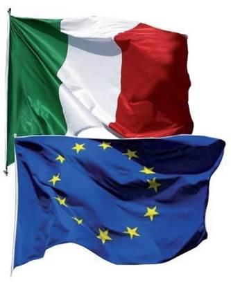 Coppia Bandiere Italia-Europa cm. 100x150 in poliestere nautico con guaina e corda
