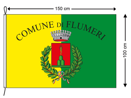 Bandiera Comunale cm. 100x150 con nome e stemma Comune in poliestere nautico con guaina e corda