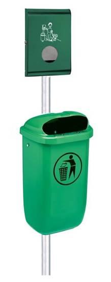 IMPIANTO CLEAN DOG composto da cestino in materiale plastico e distributore sacchetti per raccolta deiezioni canine