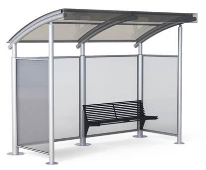 PENSILINA PERLA per attesa autobus completa di pannelli laterali e panchina