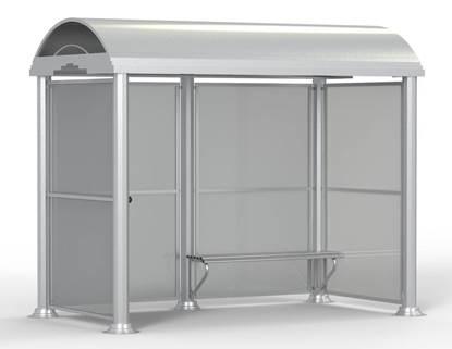 PENSILINA GINEVRA per attesa autobus con struttura in acciaio e tamponamenti in policarbonato, completa di panca interna