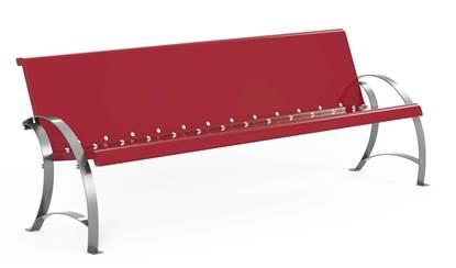 Cod. PN11 PANCHINA MEGAN composta da seduta e schienale monoblocco in acciaio e n.2 supporti artistici