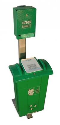 CESTINO REX per raccolta deiezioni canine completo di dispenser sacchetti