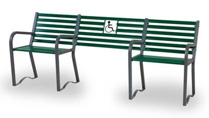 PANCHINA INCLUSIVA in acciaio zincato e verniciato con alloggio per disabili su carrozzina