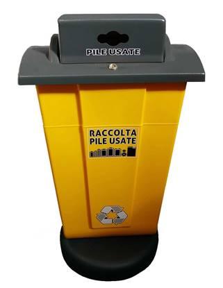 Contenitore per raccolta pile esauste in materiale plastico da lt.65 con base di cemento